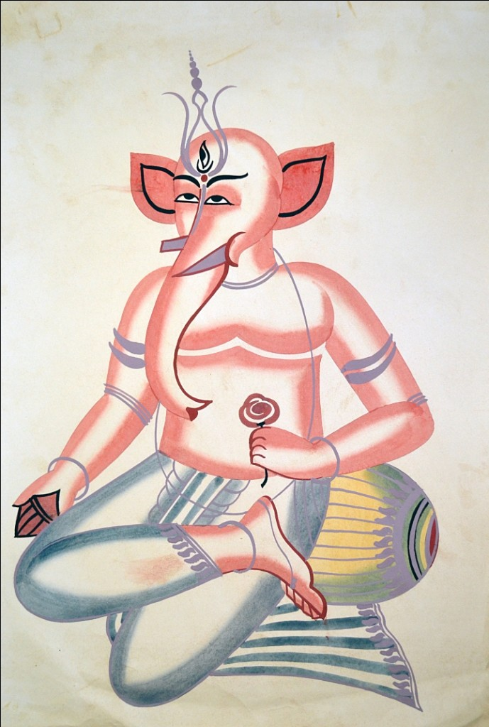 Kalighat Painting by Unknown Artist, Traditional Painting, Watercolor on Paper, Beige color