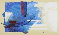 SYMPHONY IN BLUE by Veena Chitrakar, Abstract Painting, Acrylic on Canvas, Beige color