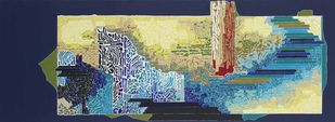 SYMPHONY IN COLOURS by Veena Chitrakar, Abstract Painting, Acrylic on Canvas, Blue color