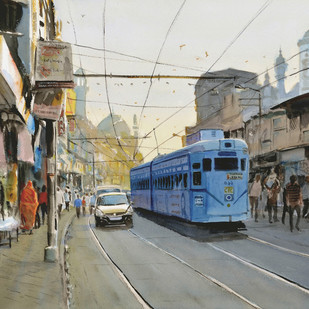 Glimpses of Kolkata # 3 by Ramesh Jhawar, Impressionism Painting, Watercolor on Paper, Gray color