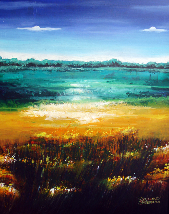 Abstract Landscape-II by Bolleddu Sridhar, Impressionism Painting, Acrylic on Canvas, Cyan color