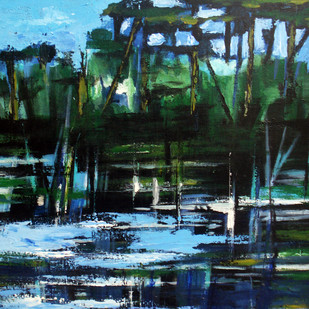Reflections by Bolleddu Sridhar, Impressionism Painting, Acrylic on Canvas, Green color