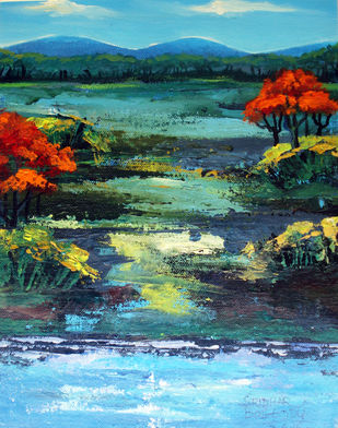 Landscape with red trees Artwork By Bolleddu Sridhar