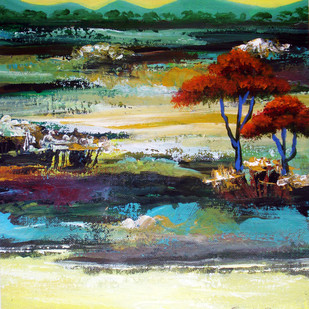 Landscape with yellow sky by Bolleddu Sridhar, Impressionism Painting, Acrylic on Canvas, Green color