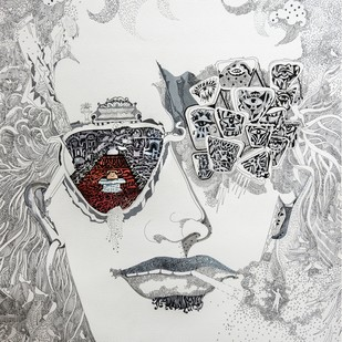 The Unknown man with red carpet by Avijit Mukerjee, Expressionism Painting, Watercolor & Ink on Paper, Gray color
