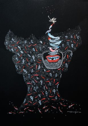 Selfie with angel by Avijit Mukerjee, Illustration Painting, Gouache on Paper, Black color