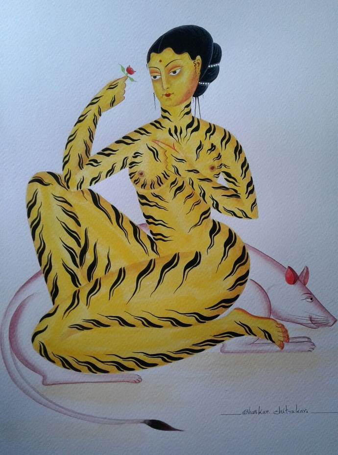 Tiger-Woman by Bhaskar Chitrakar, Folk Painting, Watercolor on Paper, Green color