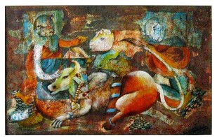 Gowmata by Vineeta Vadhera, Expressionism Painting, Acrylic on Paper, Brown color