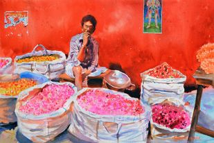 The Smoking Vendor by Ramesh Jhawar, Impressionism Painting, Watercolor on Paper, Red color