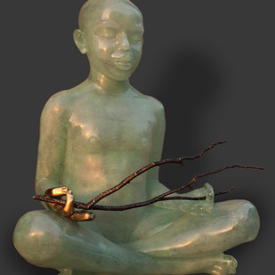 Branching Peace by PRAFULL SINGH, Conceptual Sculpture | 3D, Clear Resin and Brass, Gray color
