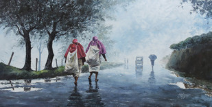 Misty Munnar by Sunil Linus De, Impressionism Painting, Acrylic on Canvas, Green color