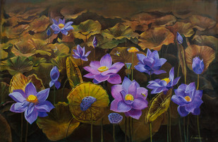 Blue Lotus by Santanu Das, Impressionism Painting, Acrylic on Canvas, Brown color