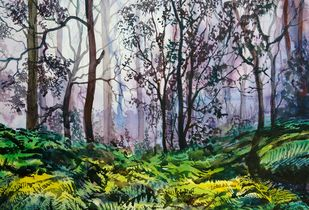 Forest by Prabhakaran, Impressionism Painting, Watercolor on Paper, Green color