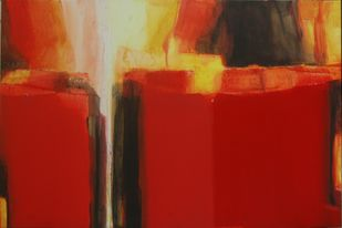 An Unknown Territory-31 by Anil Gaikwad, Abstract Painting, Acrylic on Canvas, Red color