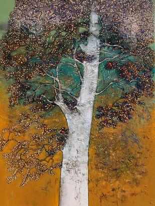 tree of life by Bhaskara Rao Botcha, Impressionism Painting, Acrylic on Canvas, Cyan color