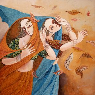 Autumn by Jayshree P Malimath, Expressionism Painting, Acrylic on Canvas, Brown color