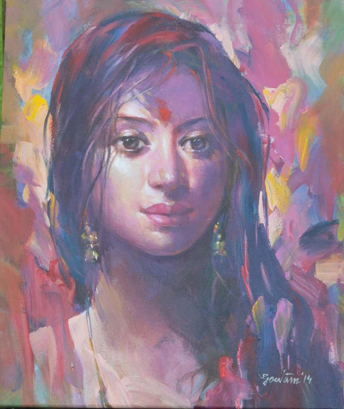 Beauty in Pink by Gautam Sarkar, Realism Painting, Acrylic on Canvas, Brown color
