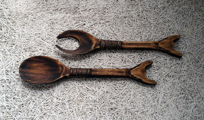 Naga Salad Spoons - Set of 2 Table Ware By E'thaan Design Studio
