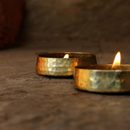Hand Hammered Brass T-Light set of 2 T-Light and Votive Holder By De Kulture Works