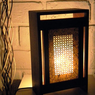 Sanjhi table lamp lit 1   back open