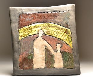 Aa Chal ki Tujhe...- Raku Fired by Meenakshi Garodia, Art Deco Sculpture | 3D, Ceramic, Brown color