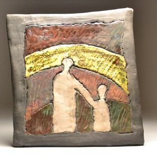 Aa Chal ki Tujhe...- Raku Fired by Meenakshi Garodia, Art Deco Sculpture | 3D, Ceramic, Brown color