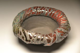 Flowering Bowl- Raku fired by Meenakshi Garodia, Art Deco Sculpture | 3D, Ceramic, Brown color
