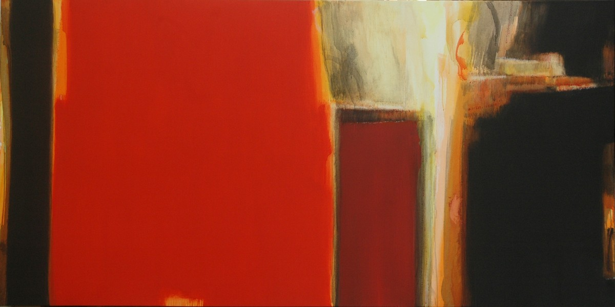 An Unknown Territory by Anil Gaikwad, Abstract Painting, Acrylic on Canvas, Red color