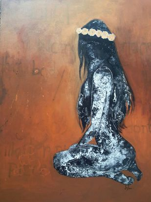 026 The Complete Being by Jayshree Goradia, Expressionism Painting, Mixed Media on Canvas, Brown color