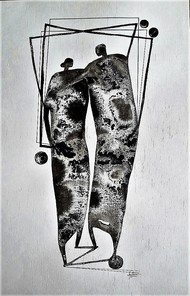 03 (We) by Jayshree Goradia, Expressionism, Expressionism, Expressionism Painting, Mixed Media on Paper, Gray color