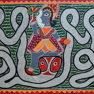 Kalia Daman by Baua Devi, Traditional Painting, Watercolor on Paper, Green color