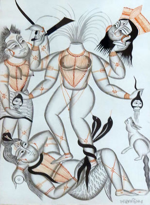 Rakta Beej by Unknown Artist, Traditional Painting, Watercolor on Paper, Gray color