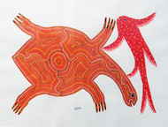 Tortoise and Fish by Unknown Artist, Traditional Painting, Acrylic on Paper, Gray color