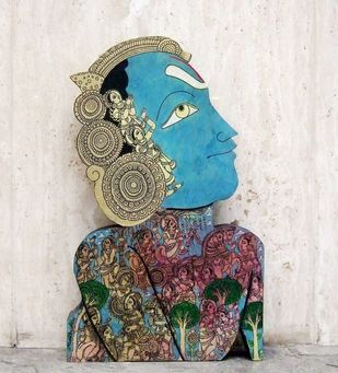 Krishna by Ramesh Gorjala, Traditional Sculpture | 3D, Mixed Media on Wood, White color