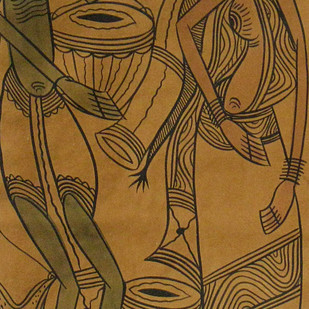 Untitled by Unknown Artist, Traditional Painting, Natural colours on paper, Brown color