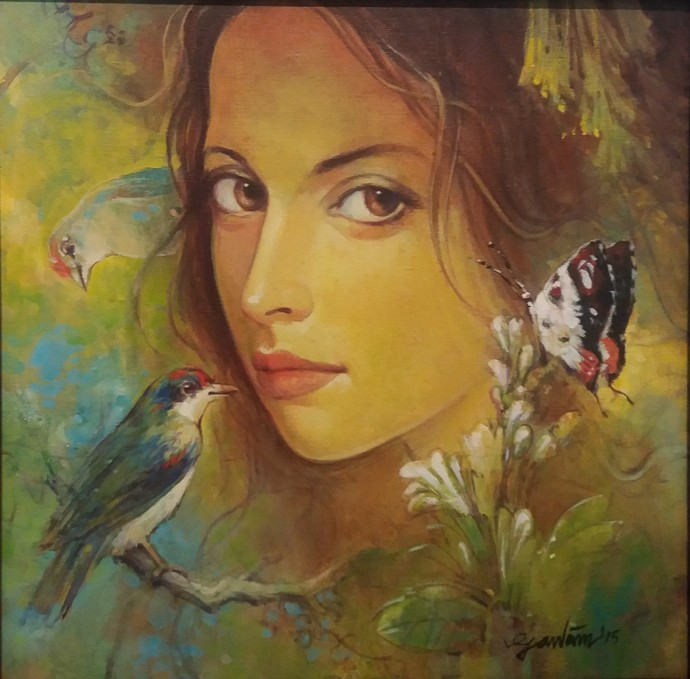 Beauty With Birds - 1 By Artist Gautam Sarkar  Realism -1458