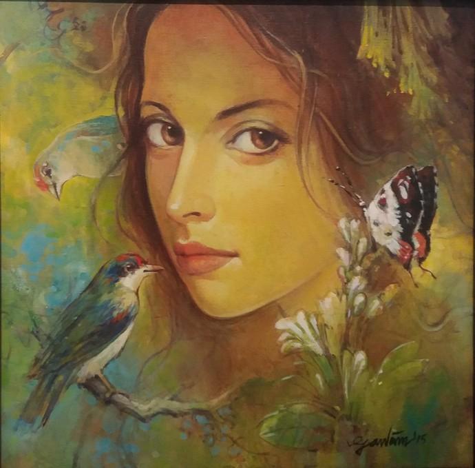 Beauty With Birds - 1 By Artist Gautam Sarkar  Realism -1458