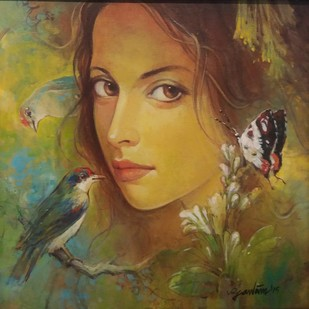 Beauty with Birds - 1 by Gautam Sarkar, Realism Painting, Acrylic on Canvas, Brown color