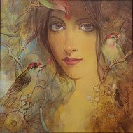 Beauty with Birds - 2 by Gautam Sarkar, Realism Painting, Acrylic on Canvas, Brown color