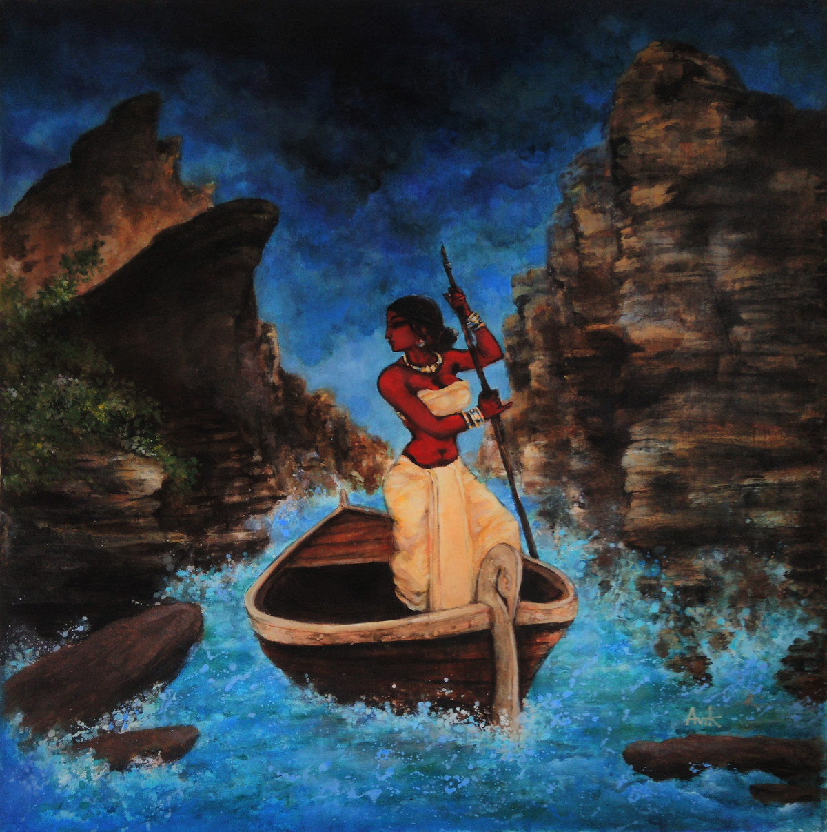 Dark Lady [I] by Avik Chakraborty, Impressionism Painting, Acrylic on Canvas, Blue color