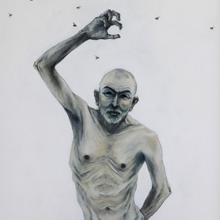SADIST by Ritesh Warambhe, Expressionism, Expressionism Painting, Acrylic on Canvas, Gray color