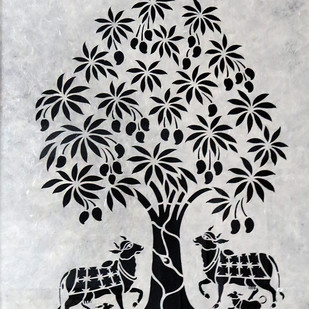 Untitled by Unknown Artist, Traditional, Traditional Painting, Hand Cut Paper, Gray color