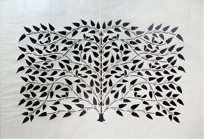 Untitled by Unknown Artist, Traditional Painting, Hand Cut Paper, Gray color