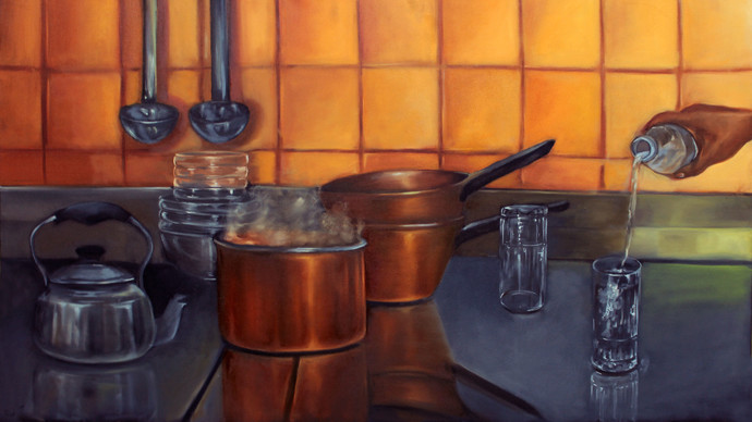 The relatable ordinary by Chandni Gulati, Realism Painting, Oil on Canvas, Brown color