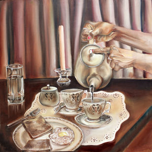 The customary by Chandni Gulati, Realism Painting, Oil on Canvas, Brown color