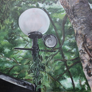 After the moonlight by Chandni Gulati, Realism Painting, Acrylic on Canvas, Green color
