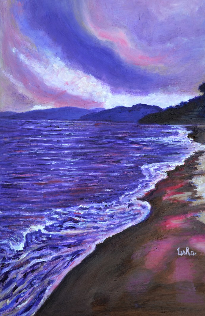 Moods of Tioman 2 by Usha Shantharam, Impressionism Painting, Oil on Canvas Board, Blue color