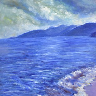 Moods of Tioman 1 by Usha Shantharam, Impressionism Painting, Oil on Canvas Board, Blue color