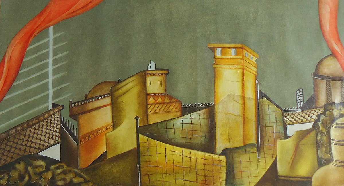 untitled by Vimmi Indra, Geometrical Painting, Oil on Canvas, Brown color
