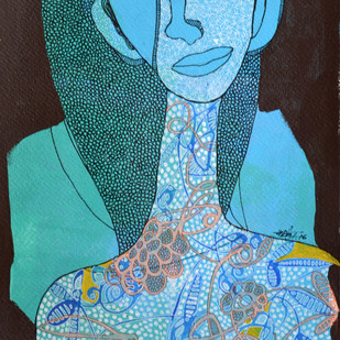 Gaze worth following by Vartika Singh, Expressionism Painting, Acrylic & Ink on Paper, Cyan color